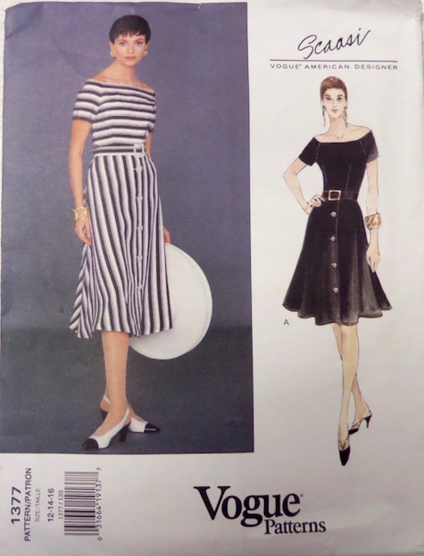 1990s Arnold Scaasi striped dress pattern Vogue 1377