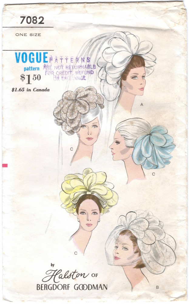 1960s Halston of Bergdorf Goodman bridal headpiece pattern - Vogue 7082