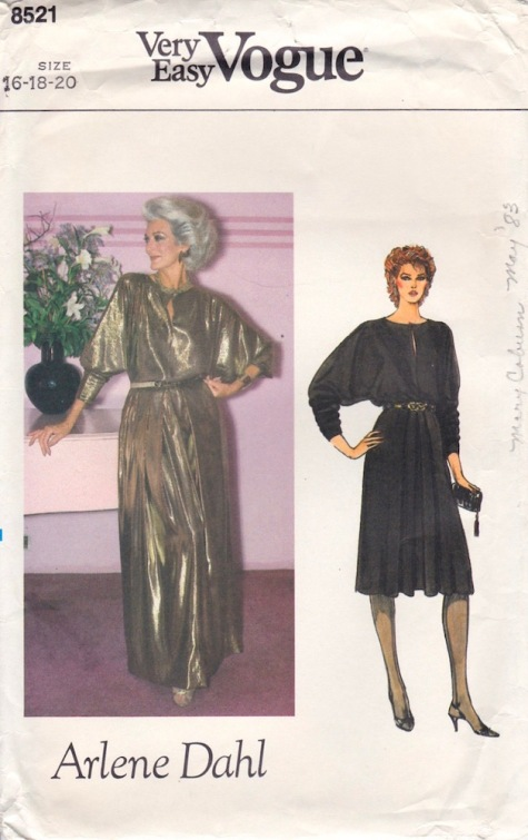 1980s Arlene Dahl dress pattern featuring Carmen Dell'Orefice, Vogue 8521