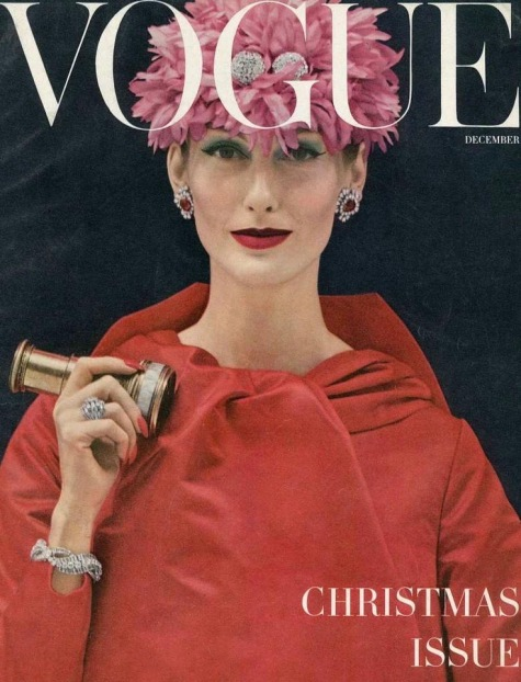 Mary Jane Russell wears Scaasi on the cover of Vogue's Christmas issue, 1955. Photographed by Richard Rutledge
