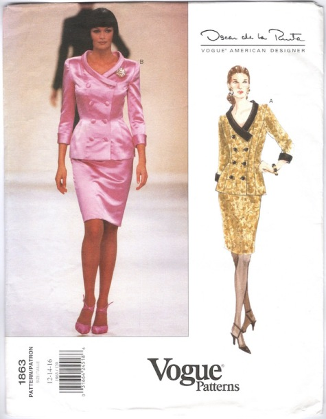 1990s Oscar de la Renta satin skirt suit pattern - Vogue 1863