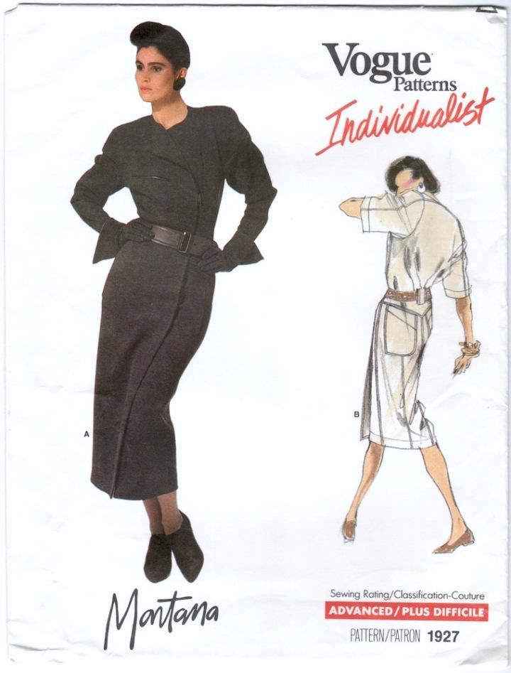 1980s Claude Montana dress pattern - Vogue Individualist 1927