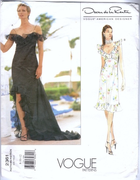 1990s Oscar de la Renta dress pattern Vogue 2361