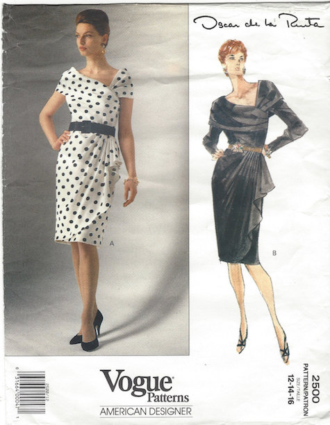 1990s Oscar de la Renta dress pattern, Vogue 2500