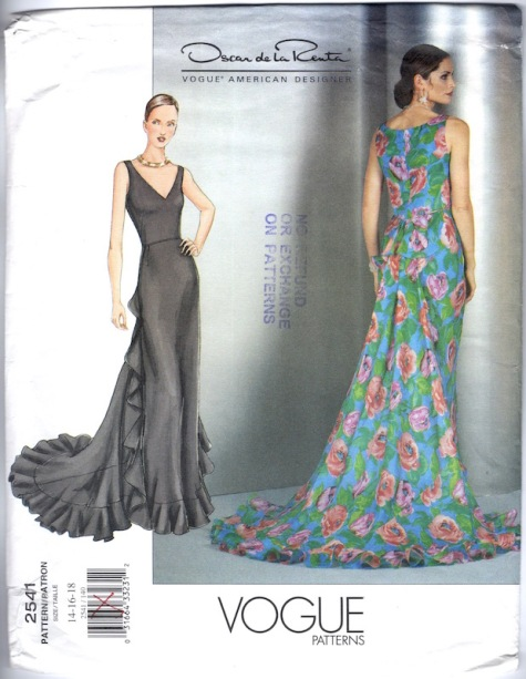 2000s Oscar de la Renta gown pattern Vogue 2541