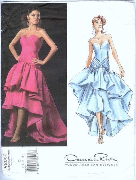 2000s Oscar de la Renta dress pattern Vogue 2889