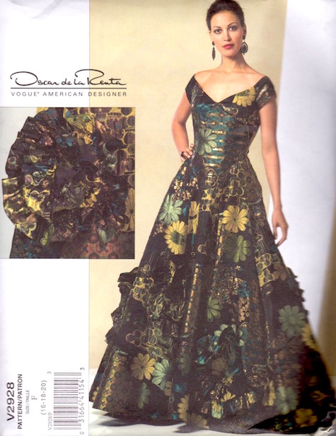 2000s Oscar de la Renta evening gown pattern Vogue 2928