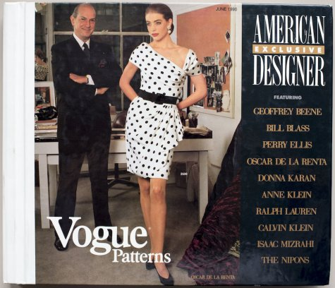 Oscar de la Renta with model in V2500 on the cover of the Vogue Patterns catalogue, June 1990