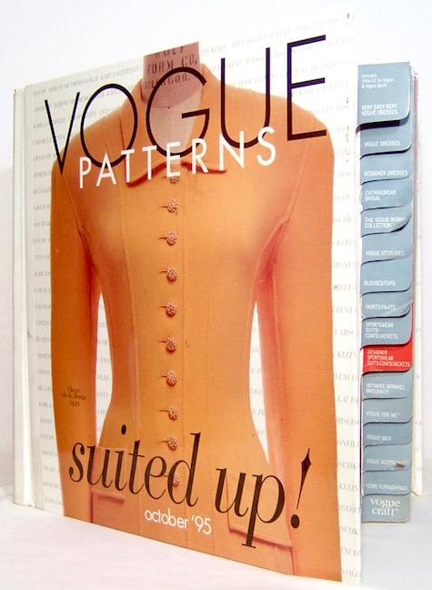Suited up! Oscar de la Renta suit pattern on the cover of a Vogue Patterns catalogue, October 1995