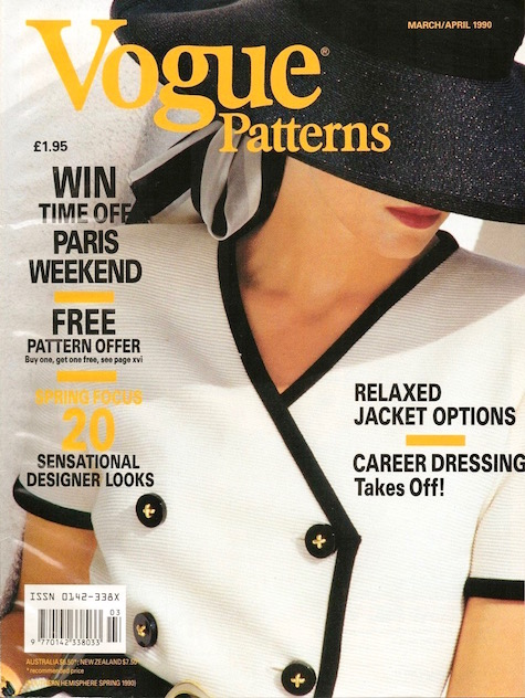 Vogue 2460 on the cover of Vogue Patterns March/April 1990