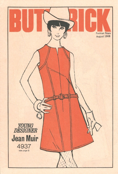 1960s Jean Muir dress pattern Butterick 4937 - Butterick Fashion News illustration