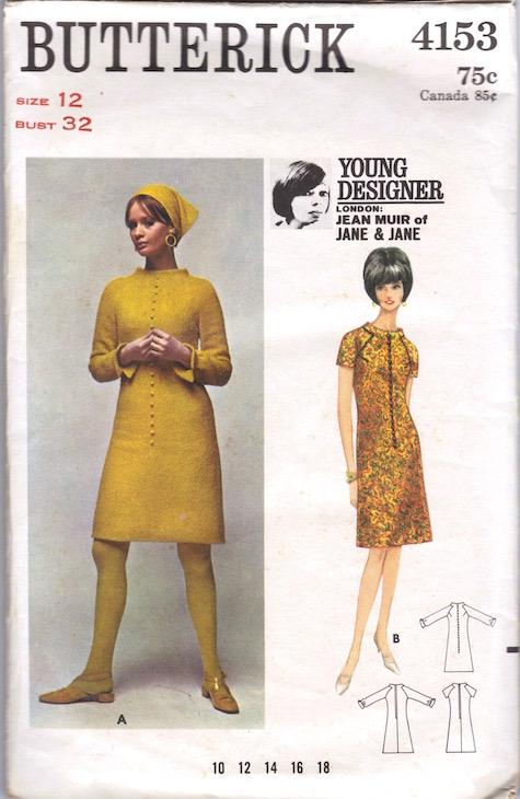 1960s Jean Muir Jane & Jane pattern feat. Celia Hammond, Butterick 4153