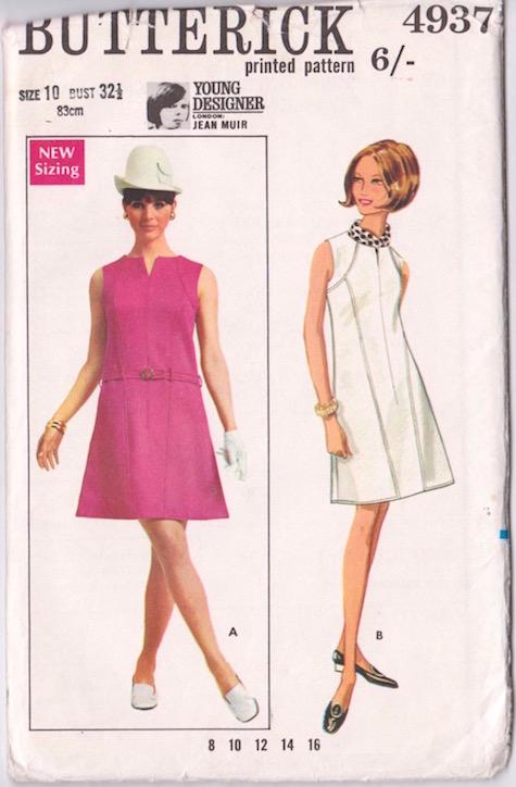1960s Jean Muir dress pattern Butterick 4937