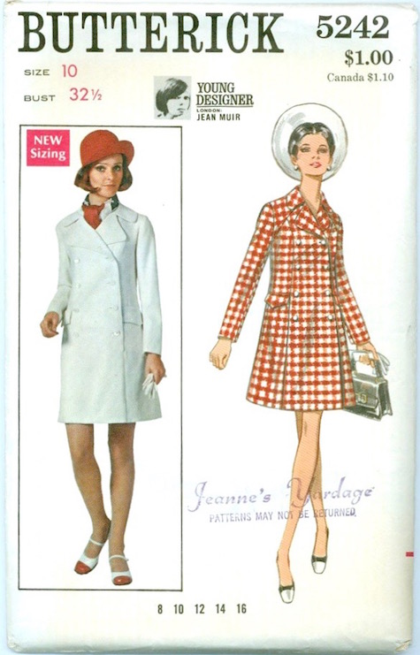 1960s Jean Muir coat pattern Butterick 5242