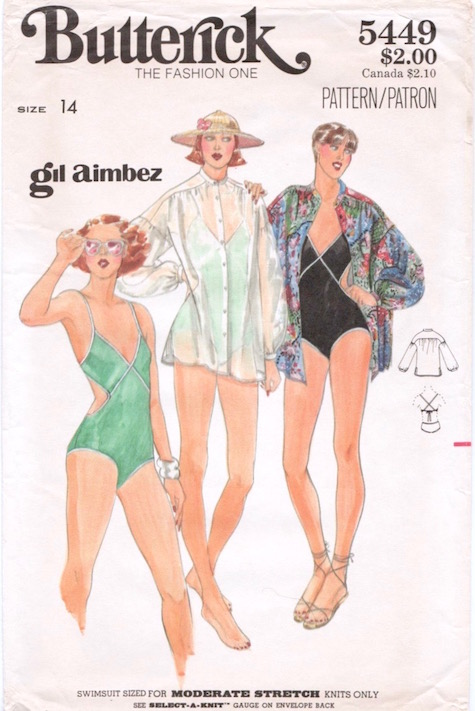 1970s Gil Aimbez swimsuit and coverup pattern Butterick 5449
