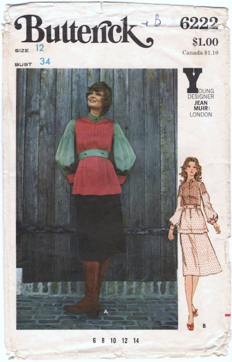 1970s Jean Muir two-piece dress pattern Butterick 6222