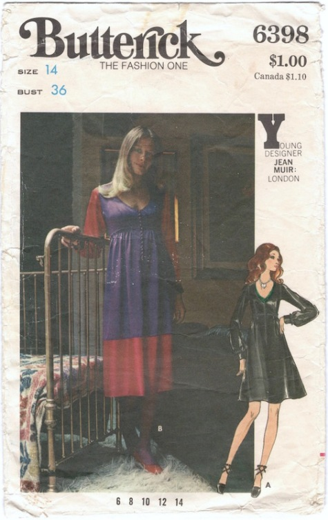 1970s Jean Muir dress pattern Butterick 6398