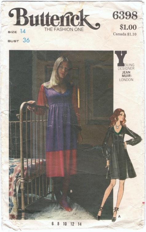 1970s Jean Muir dress pattern Butterick 6398
