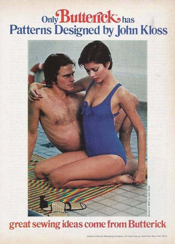 Only Butterick has patterns designed by John Kloss. 1976 Butterick / John Kloss ad