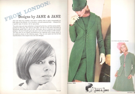 1960s photo of Jean Muir and her new Butterick patterns (nos. 3493 and 3492)