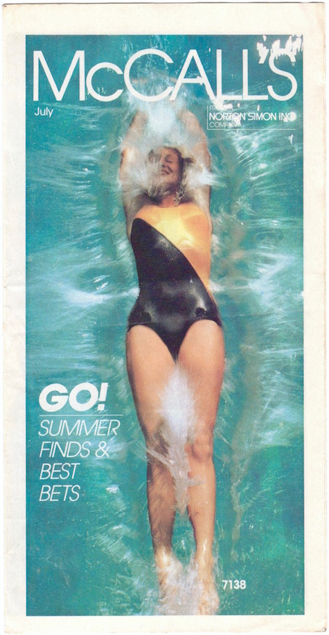 1980s Bob Mackie swimsuit pattern McCall's 7138 photographed for McCall's summer news flier