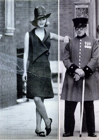 "Jane & Jane ""granny"" dress photographed by Norman Parkinson at the Royal Hospital Chelsea, 1963"