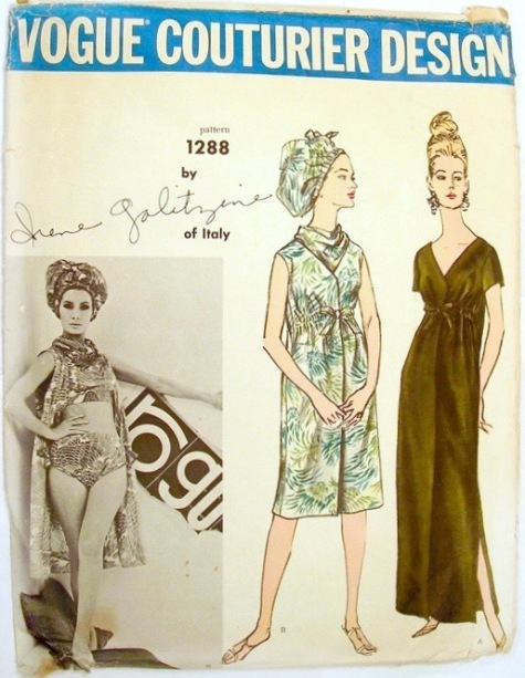 1960s Galitzine bikini, coverup, and hat pattern Vogue 1288