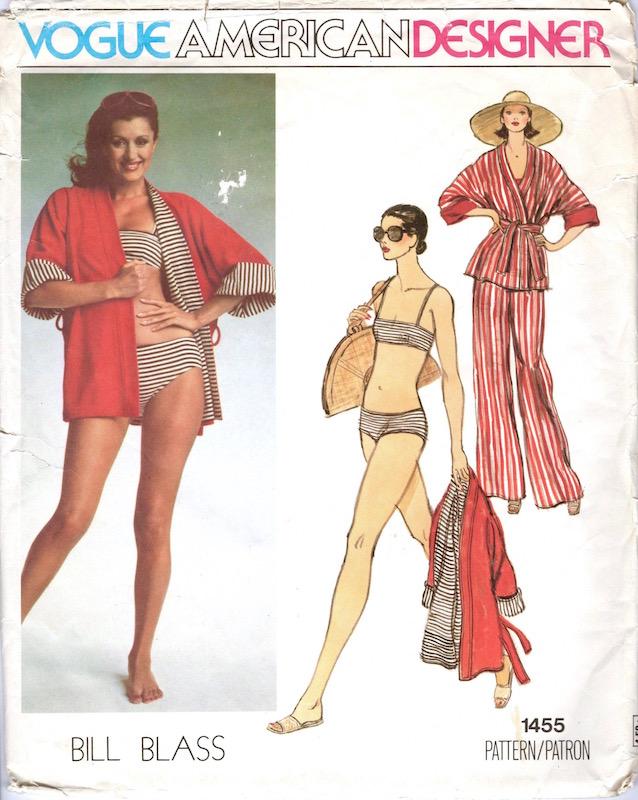 1970s Bill Blass jacket, pants, and swimsuit pattern Vogue 1455