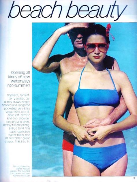 1970s Anne Klein / Penfold halter bikini pattern by Donna Karan, Vogue 1416 in Vogue Patterns magazine