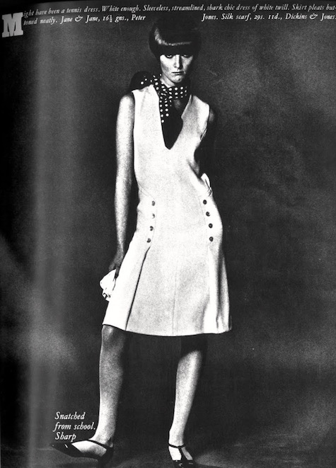 Grace Coddington wears a Jane & Jane dress by Jean Muir in British Vogue, 1965
