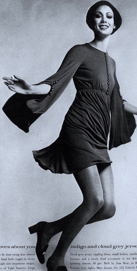 Moyra Swan in a jersey minidress by Jean Muir, British Vogue, 1969