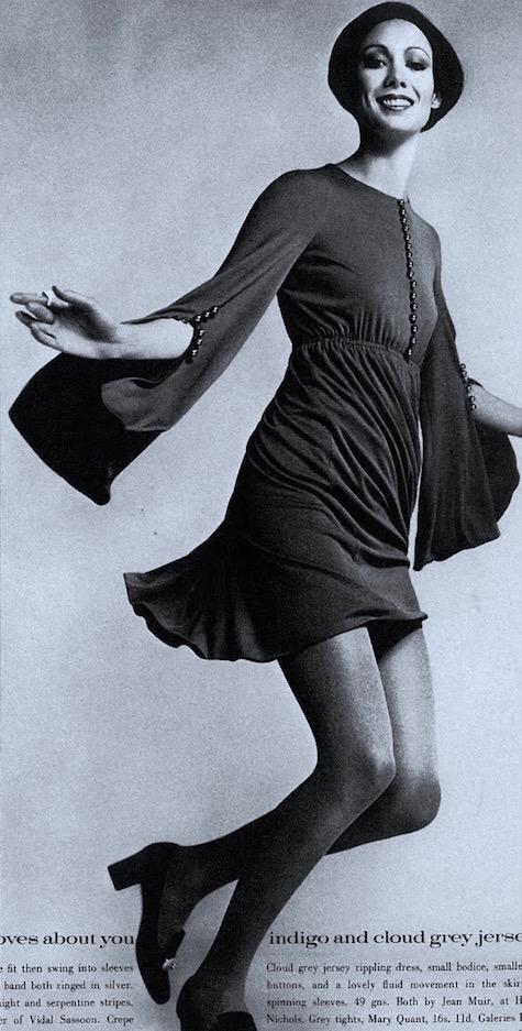 Moyra Swan in a jersey minidress by Jean Muir, British Vogue, 1969