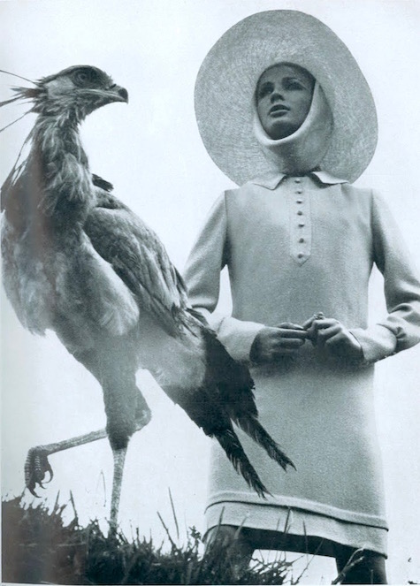 Jane & Jane wool dress by Jean Muir (Dolores hat; Ascher scarf) photographed in Kenya by David Bailey