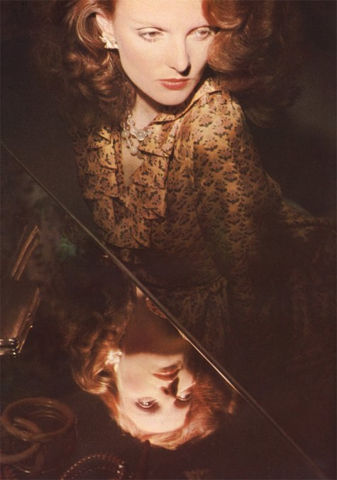Grace Coddington photographed by Eric Boman in Jean Muir, British Vogue, fall 1973