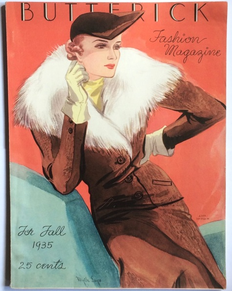 Butterick 6399 illustrated by Myrtle Lages on the cover of Butterick Fashion Magazine, Fall 1935