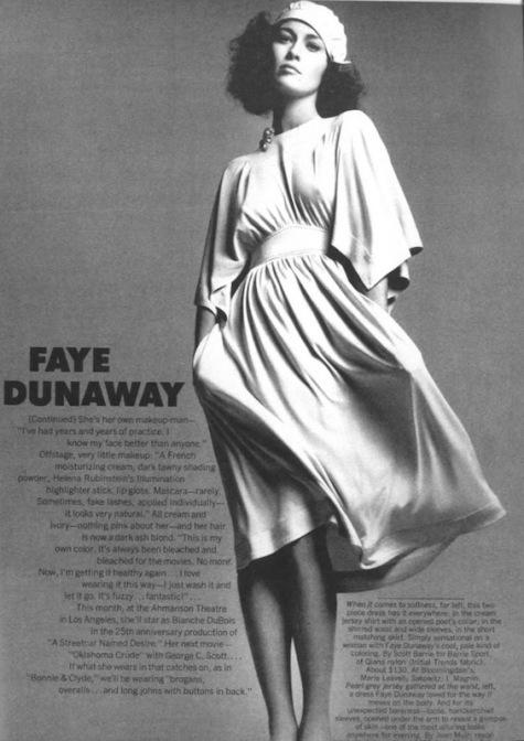 Faye Dunaway photographed by Richard Avedon in Jean Muir, 1973