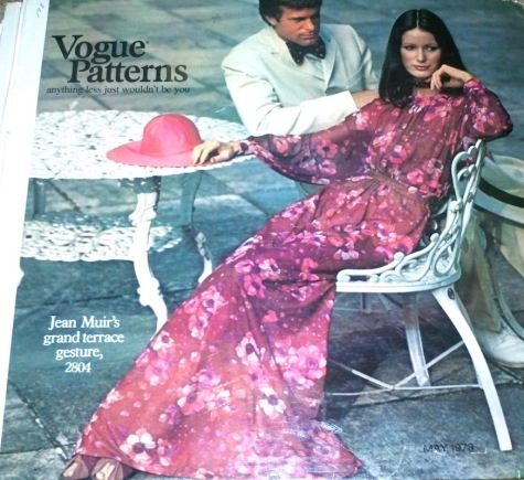 Jean Muir's grand terrace gesture, 2804 on the cover of Vogue Patterns catalogue, May 1973