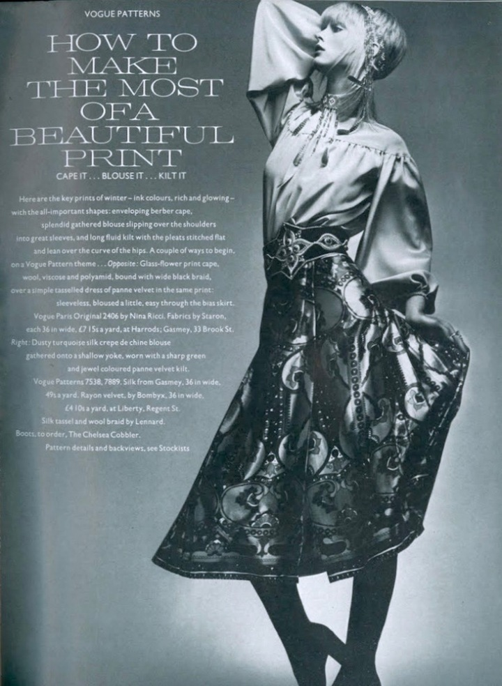 Ann Schaufuss wears blouse Vogue 7538 and skirt Miss Vogue 7889, photographed for Vogue UK by Clive Arrowsmith