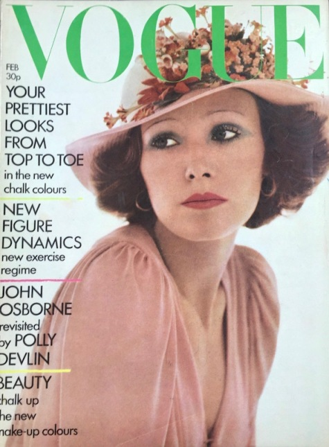 Jean Muir dress photographed by David Bailey for the cover of British Vogue, 1973