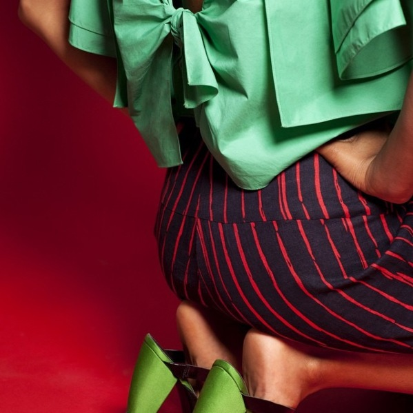 Rachel Comey's Bowtie poplin top and Expedition printed pants (Vogue 1507), Spring 2015