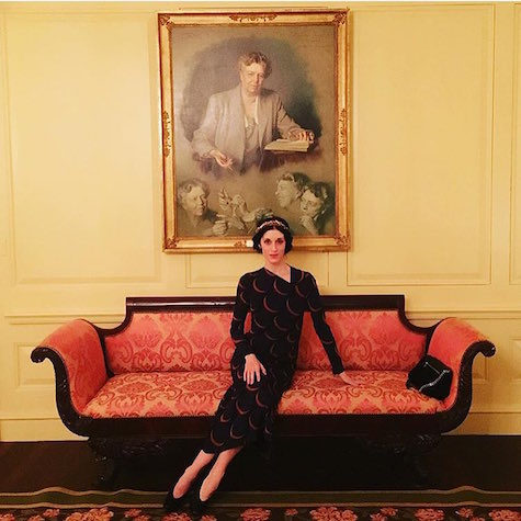 Artist and activist Sarah Sophie Flicker at the White House in Rachel Comey's Surveillance dress