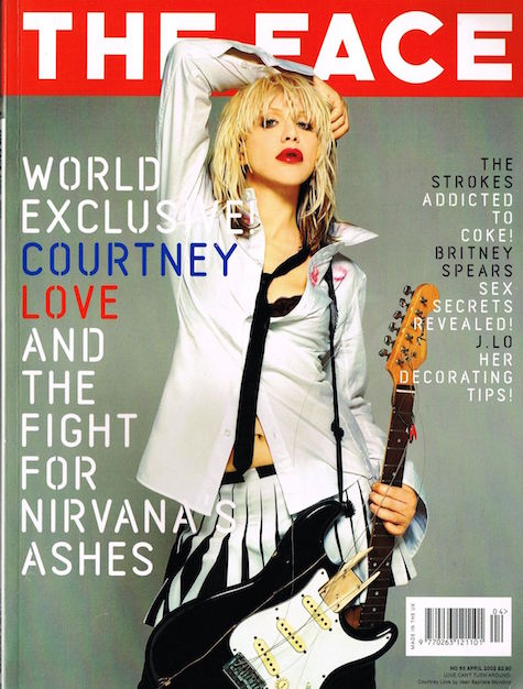 Courtney Love photographed by Jean-Baptiste Mondino in a men's lipstick print shirt by Rachel Comey