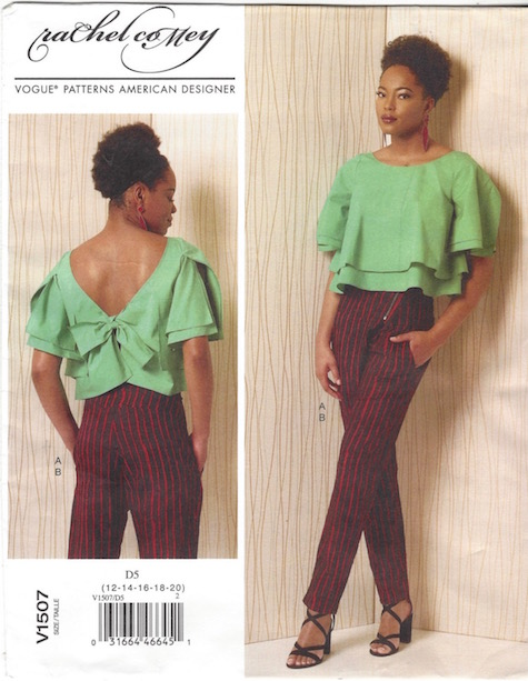 Rachel Comey Bowtie top and Expedition pants pattern Vogue 1507