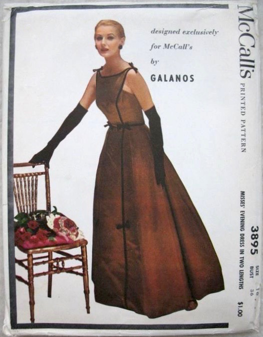 1950s James Galnos evening dress pattern McCall's 3895