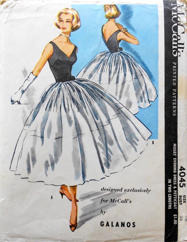 1950s Galanos evening dress and petticoat pattern McCall's 4045