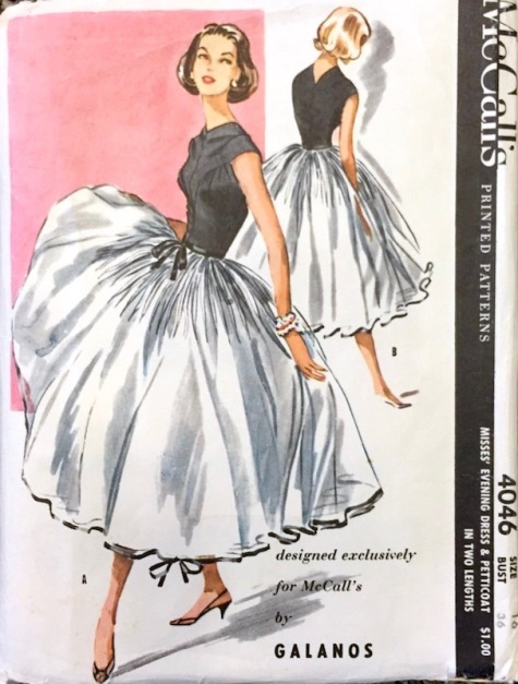 1950s Galanos evening dress and petticoat pattern McCalls 4046