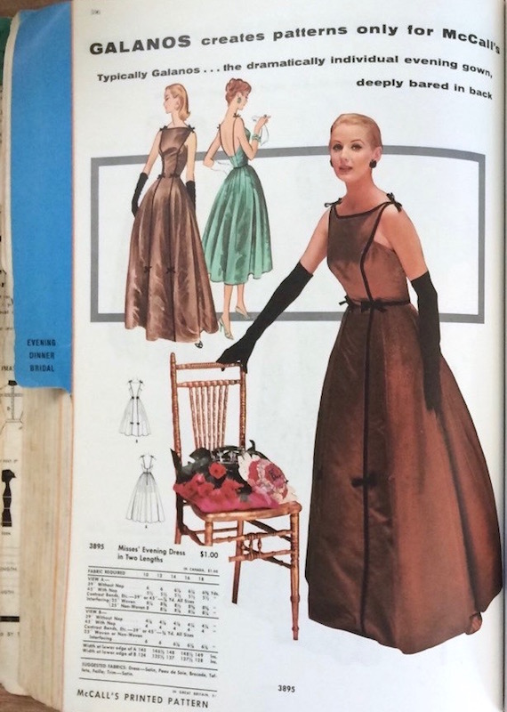 A Galanos design in the McCall's catalogue, February 1957
