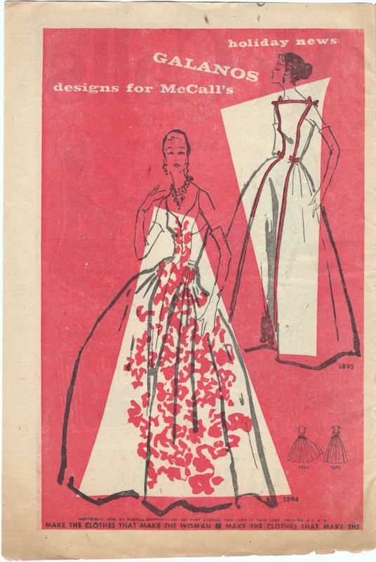 """Holiday news: Galanos designs for McCall's"" - illustration of McCall's 3894 and 3895, 1956"