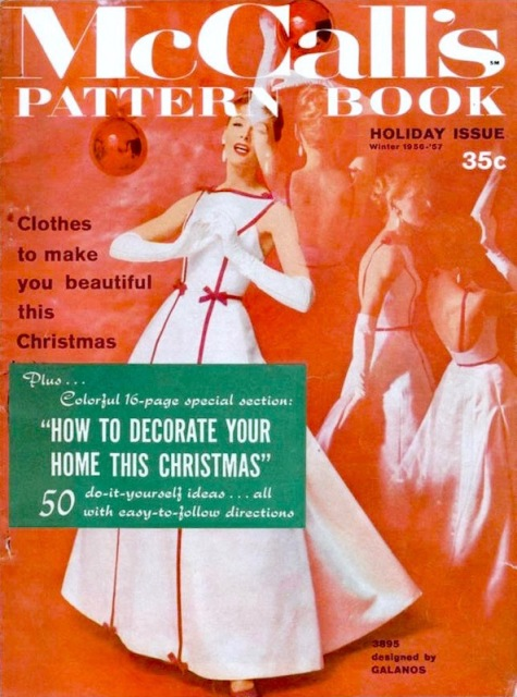 Clothes to make you beautiful this Christmas: Galanos gown McCall's 3895 on the cover of McCall's Pattern Book, Winter / Holiday 1956-57