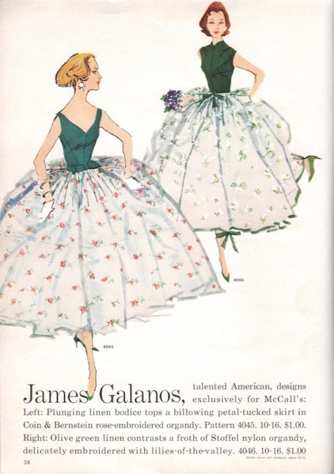 James Galanos patterns illustrated in McCall's Pattern Book, Summer 1957